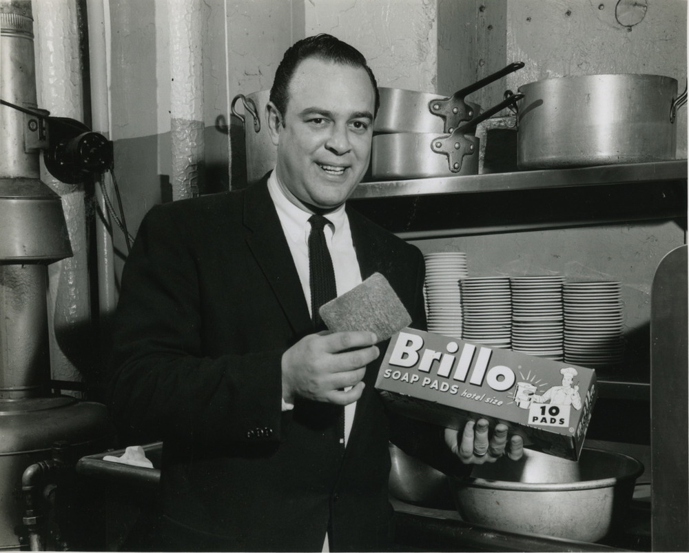 Bill Contos posing for a Brillo Ad