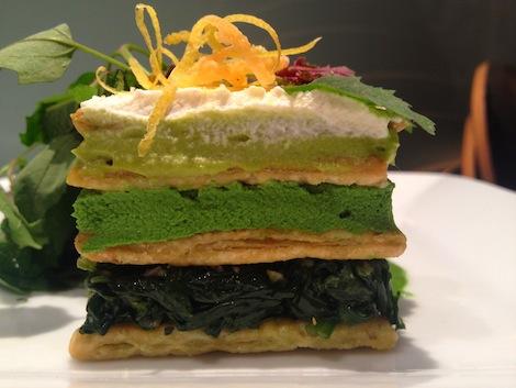Dirt Candy's Spinach Millle Feuille, via firstwefeast.com