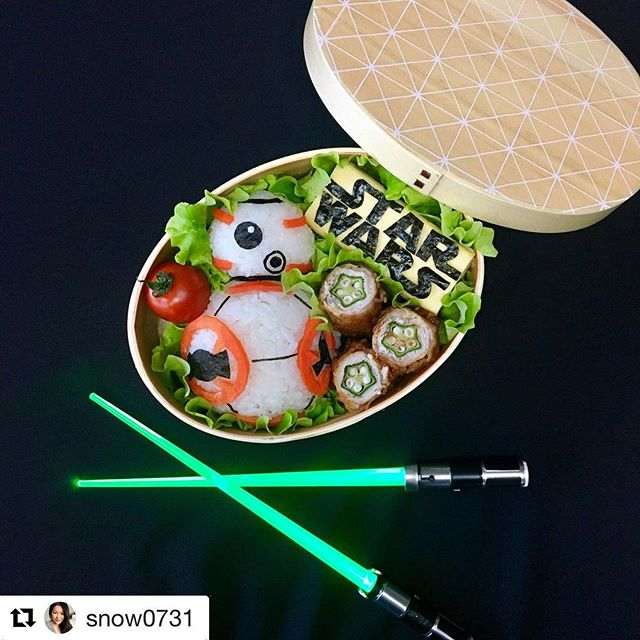 #maythe4thbewithyou! We wish we were eating this #BB8 bento by @snow0731 but we can't find our #lightsaber chopsticks. #starwars #starwarsday #food #bento