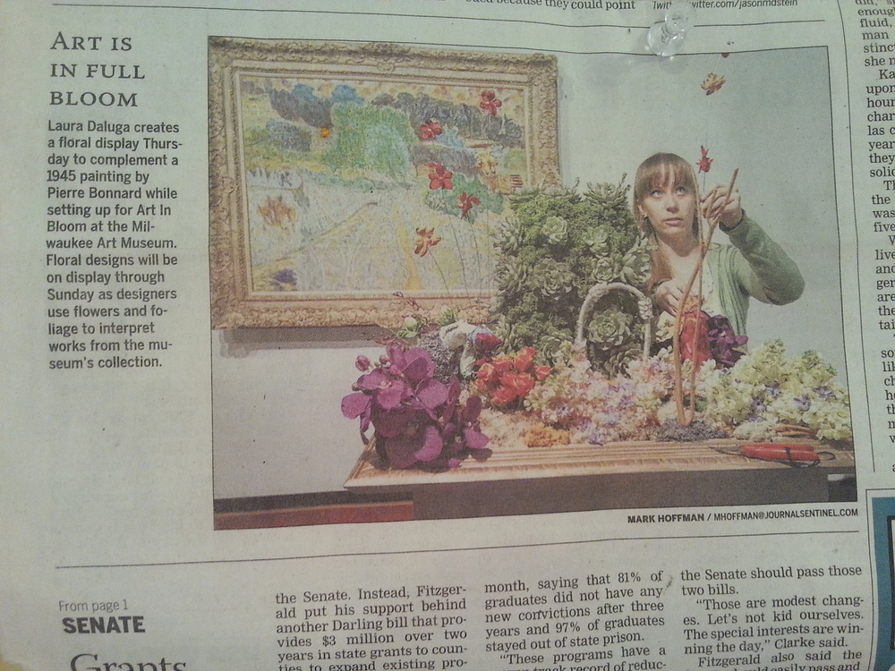 Milwaukee Journal-Sentinel Coverage of Art In Bloom 2014