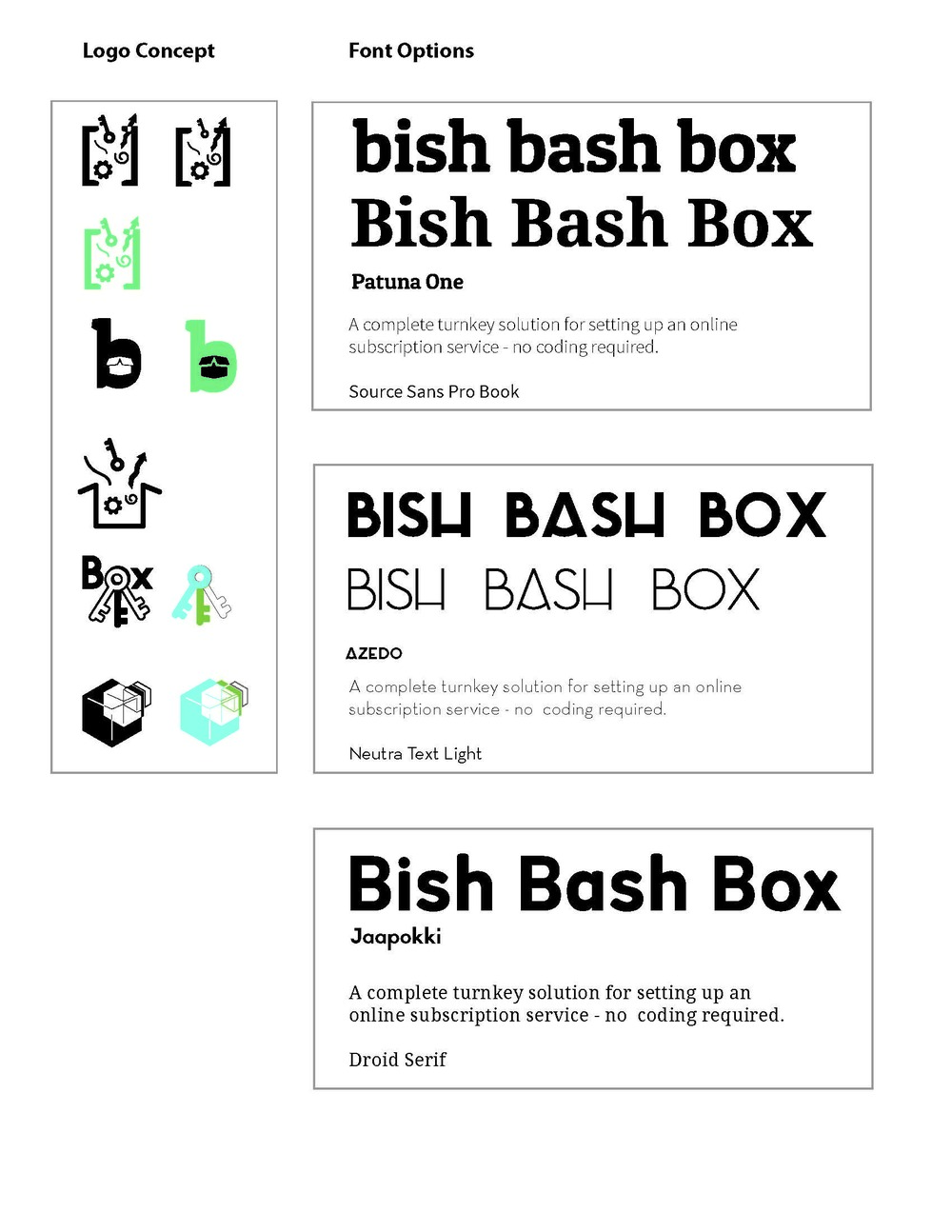 Bish Bash Box Logo & Color Development