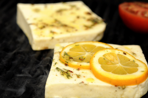 NC Grilling Cheese on grill with lemon.jpg