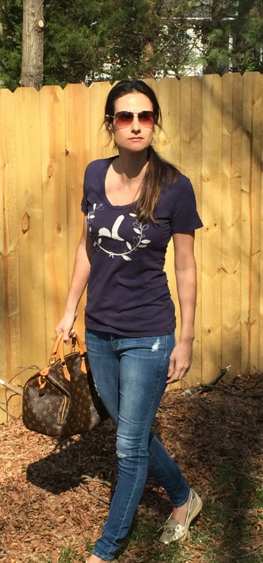 "Tara Kiwi ""Helmet & Boot Wreath Tee"" in the PM, minus a few Chloe hairs and carrot residue!"
