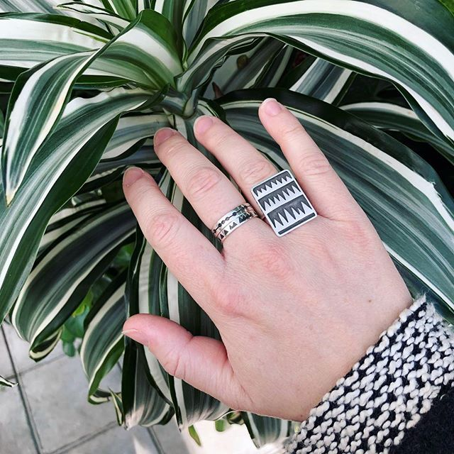 Plant friends & ring friends 🌿 #katetaylordesign #handmadejewelry #geometricjewelry #showmeyourrings #madeinbrooklyn