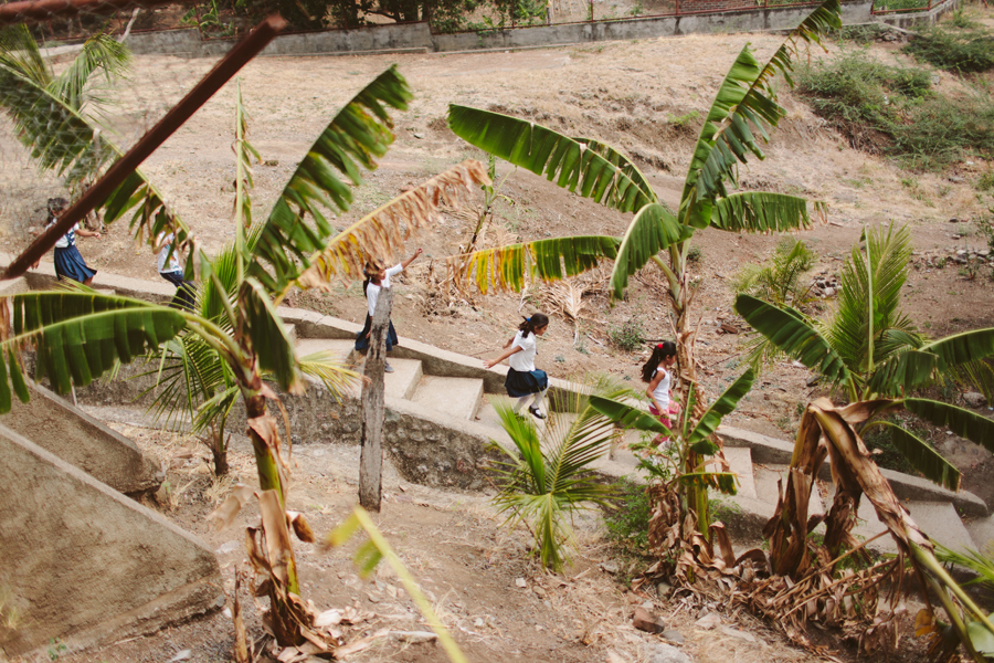 In this photo, kids are running back to class in Somoto - northern Nicaragua.
