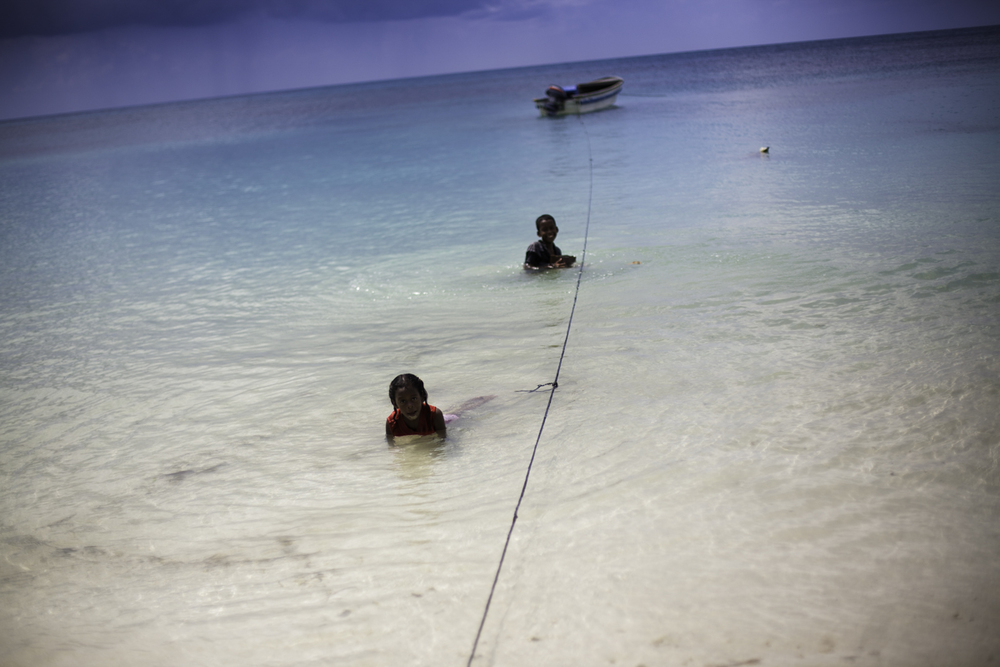 Kids playing in water, Corn Island