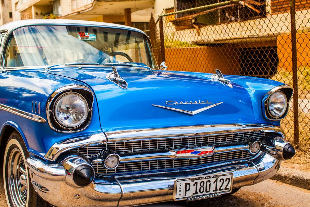 Blue classic car Havana