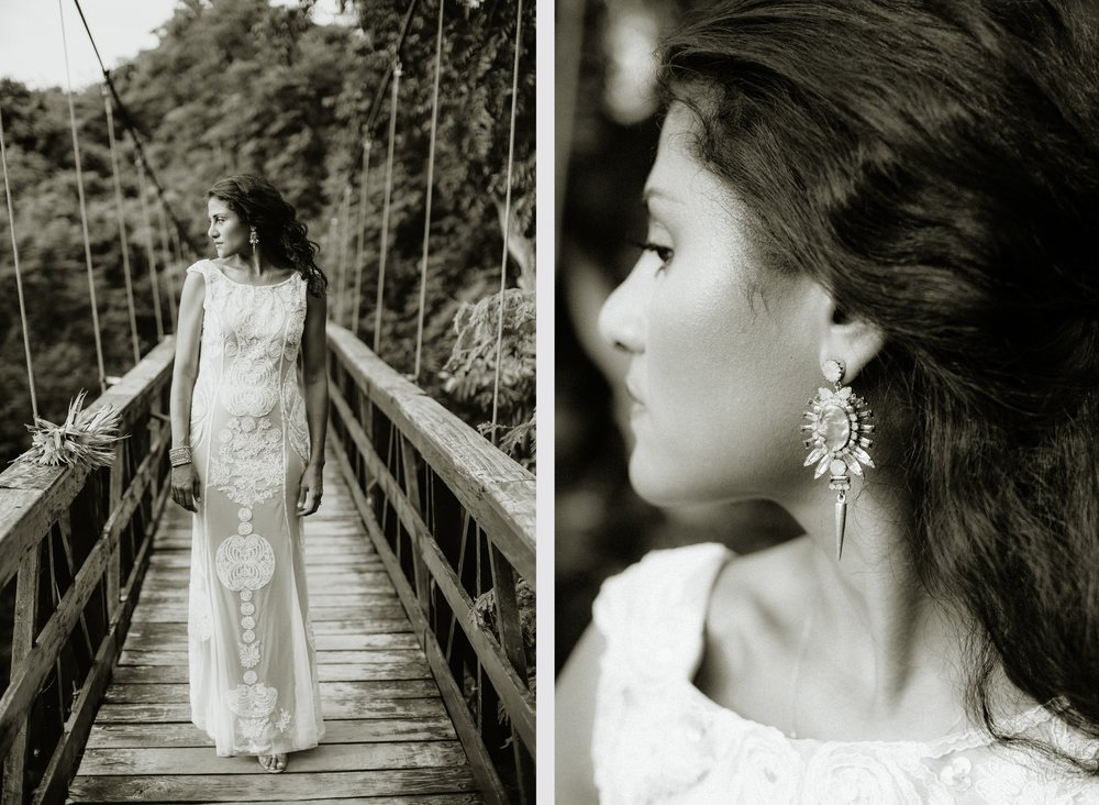 Portrait of the Bride, Dress earrings, Costa Rica beach wedding photographer