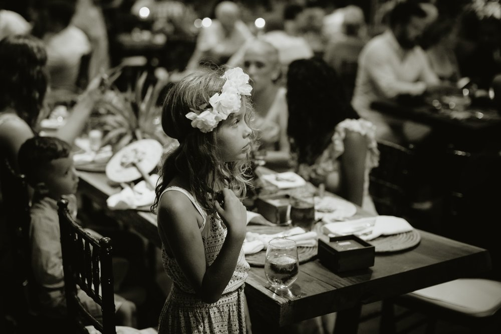 Portrait of a pretty girl during a wedding reception in Costa Rica.