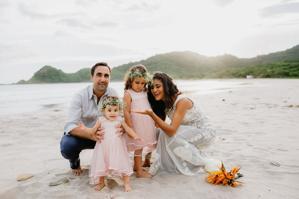 Destination Wedding photography, family portrait at the beach, Costa Rica