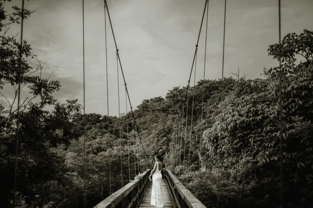 Portrait of the Bride on the bridge, Tropical beach wedding photographer, Costa Rica