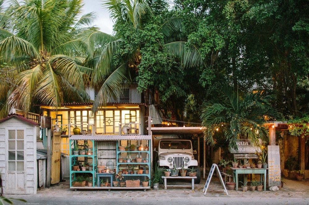 Pinterest alike Restaurants and Boutiques. Tulum beach.