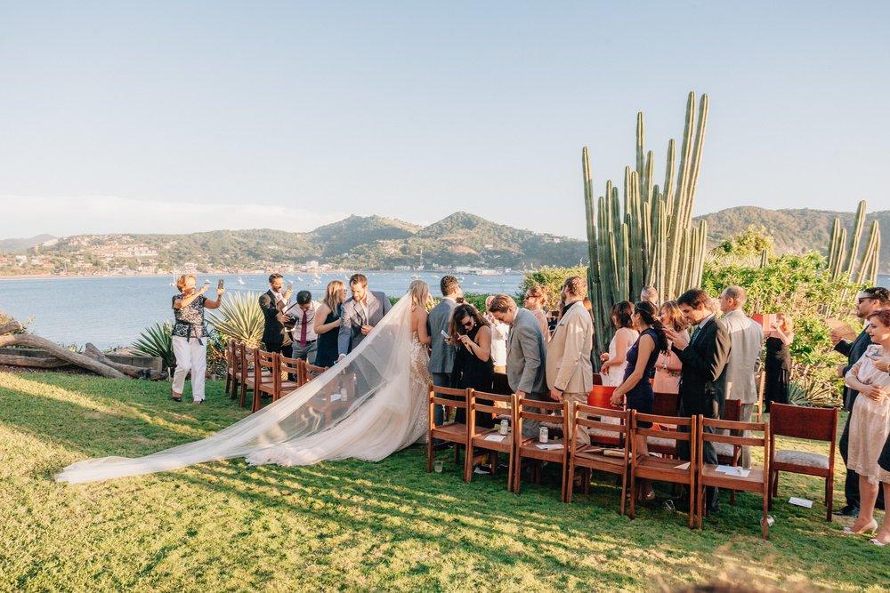 The bride entrance to the beach wedding - Nicaragua San, Juan.