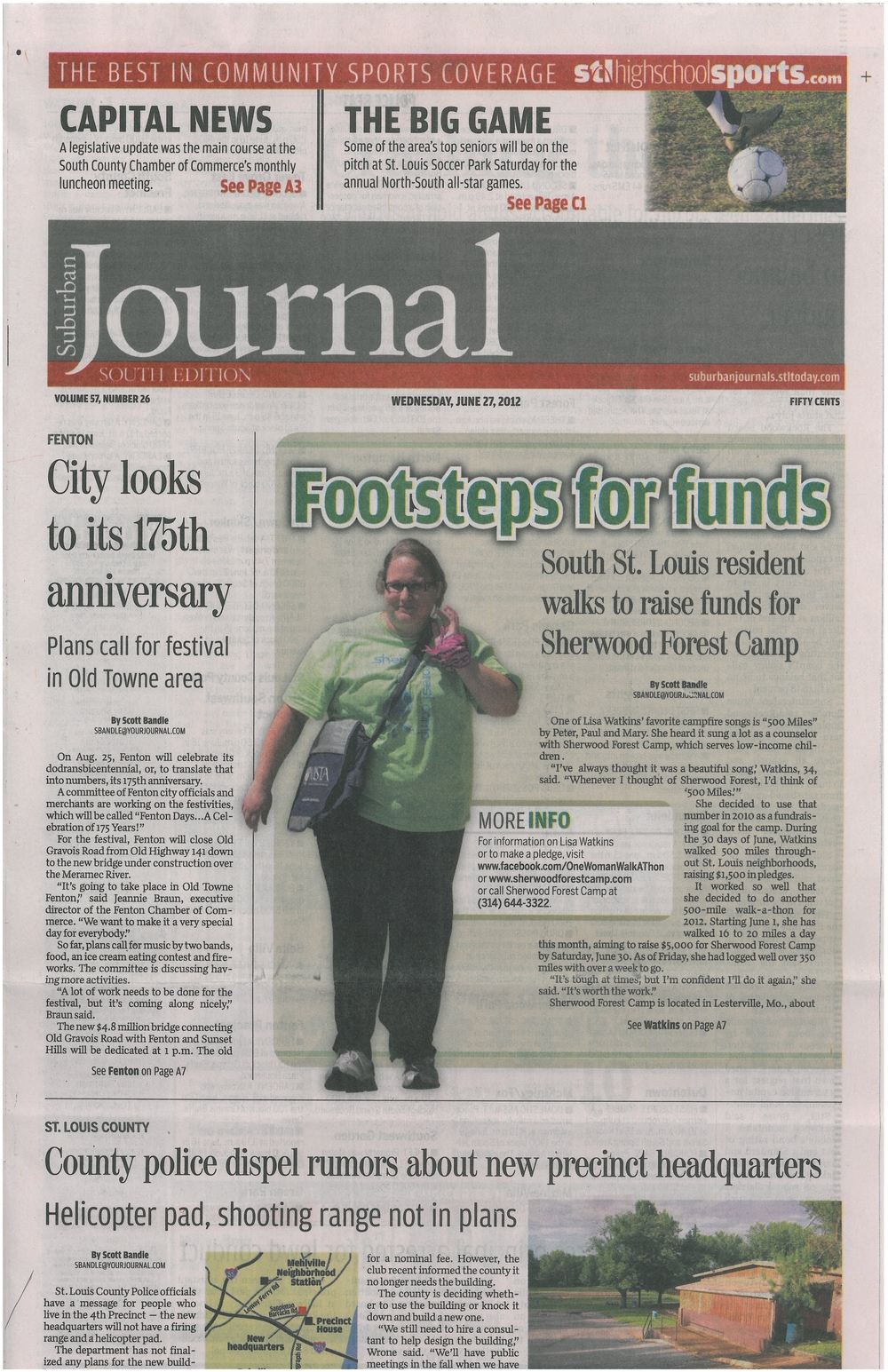 Front-page story for Sherwood Forest Camp's fundraiser - Footsteps for Funds