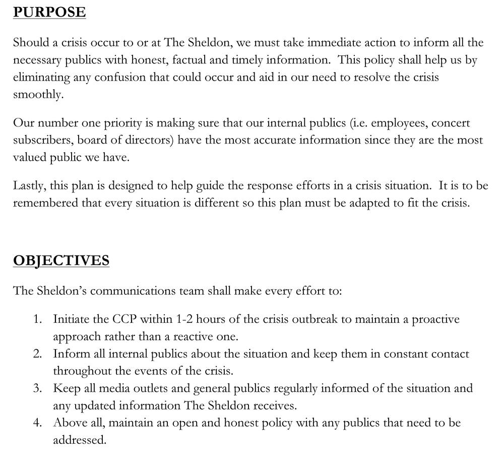 Crisis communications plan for The Sheldon - First page only