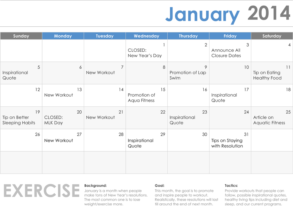 Content Calendar for City of West Hollywood (Aquatics) - Month of January only