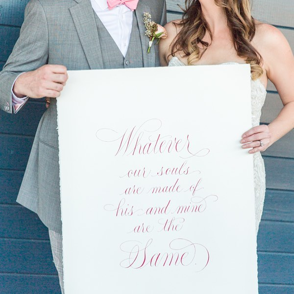 Happy Valentine's Day! I'm so excited to share this romantic photo of my calligraphy featured on the @100_layercake wedding blog! This picture was taken by @debbieneffphotography for @thebigfakewedding in Atlanta. The inspiration for this event was a refined take on millennial pink. I used  gouache on watercolor paper to pen this Emily Bronte quote for a touch of romance. Go to the link in my profile to see the blog post with more photos from this gorgeous event!