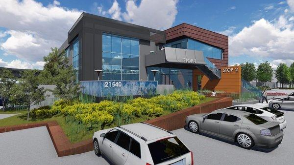 Rendering of how Montana Avenue Capital will redevelop 2201 E. El Segundo Blvd. in El Segundo. (JLL / March 24, 2014)
