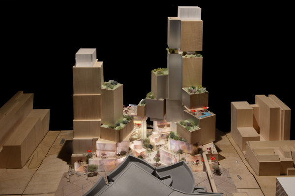 A depiction of the latest design, by Frank Gehry, for a $650-million retail, hotel and residential complex across Grand Avenue from Walt Disney Concert Hall. (Gehry Partners)