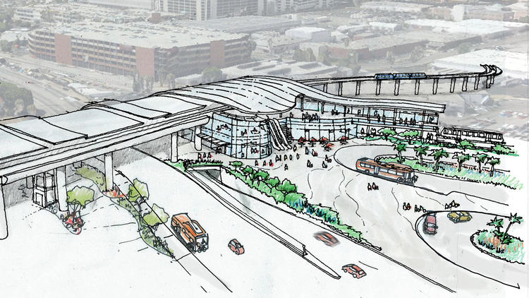 Artist's concept sketch of the new light-rail station at 96th Street and Aviation Boulevard, where passengers will be able to take an aerial circulator train to their terminals. (Metro)
