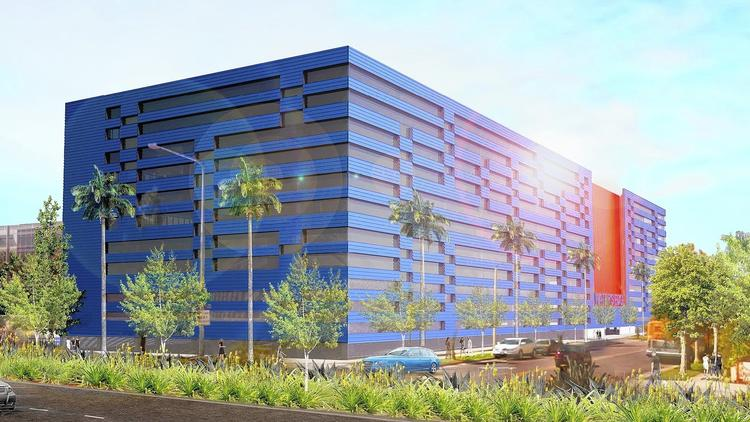 Image Credit: LA Times. The WE3 office planned for Playa Vista will feature vivid colors, concrete floors, operable windows and 14-foot ceilings. (Zoltan E. Pali)