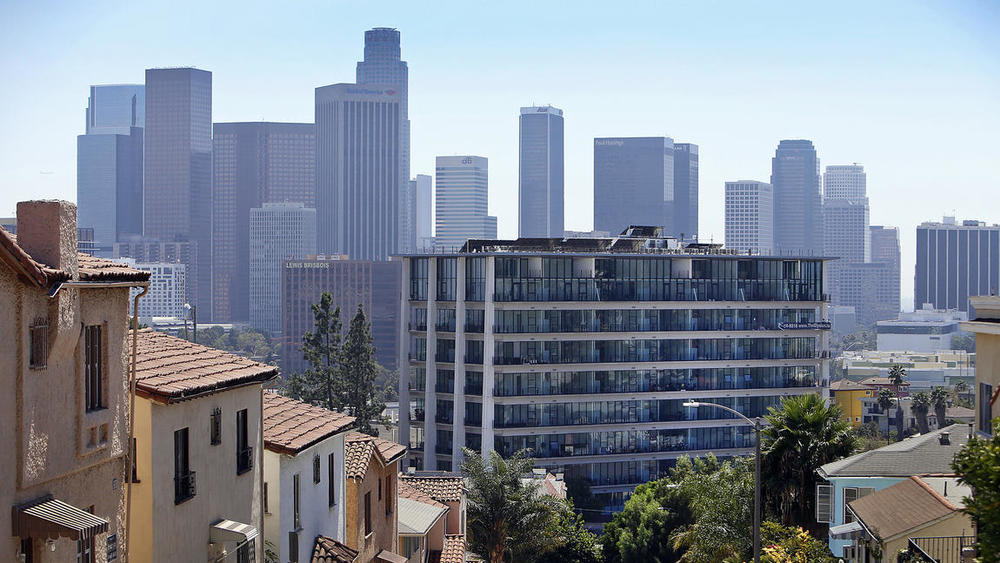 Photo Credit: Al Seib / Los Angeles Times.The glass-walled Elysian on Sunset Boulevard in Echo Park remakes an aging government building into a charismatic apartment complex.