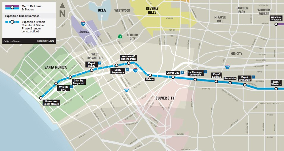 A map of phase 2 construction of the Expo Line. Credit: metro.net