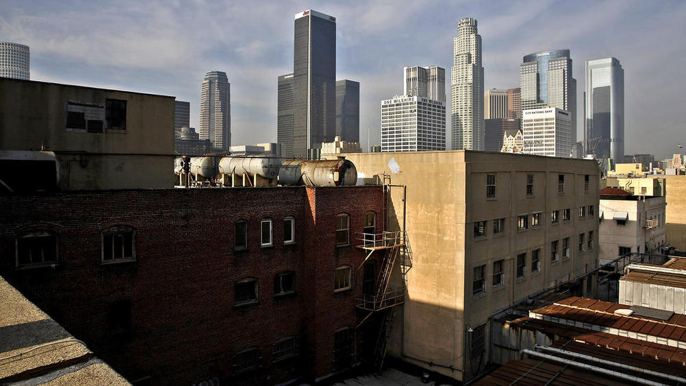 Katie Falkenberg / Los Angeles Times. One of the views offered from the 9th floor roof of the Broadway Trade Center in downtown Los Angeles.