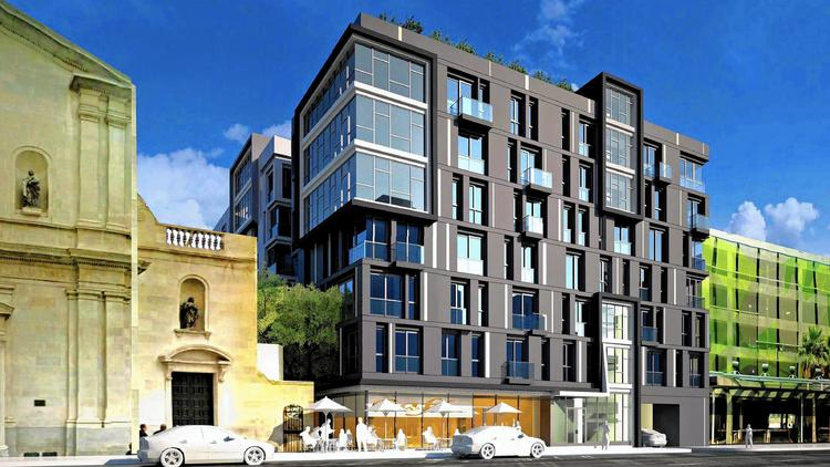 An eight-story, 237-unit apartment building is set to rise next to the former St. Vibiana's Cathedral in downtown L.A. on the lot where the Union Rescue Mission once served thousands of homeless men and women. (Nadel Architects)