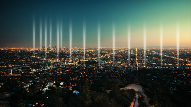 An artist's rendering of the 27 columns of light that will shine Friday night to commemorate the Los Angeles Marathon's 30th anniversary. (Courtesy of Asics)