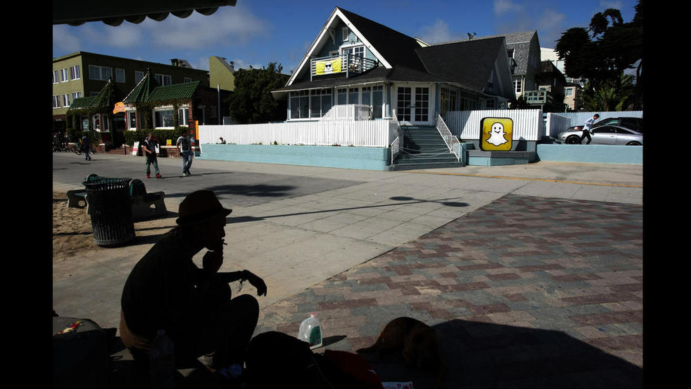 Snapchat leases a handful of buildings along Market Street in Venice. (Katie Falkenberg / Los Angeles Times)