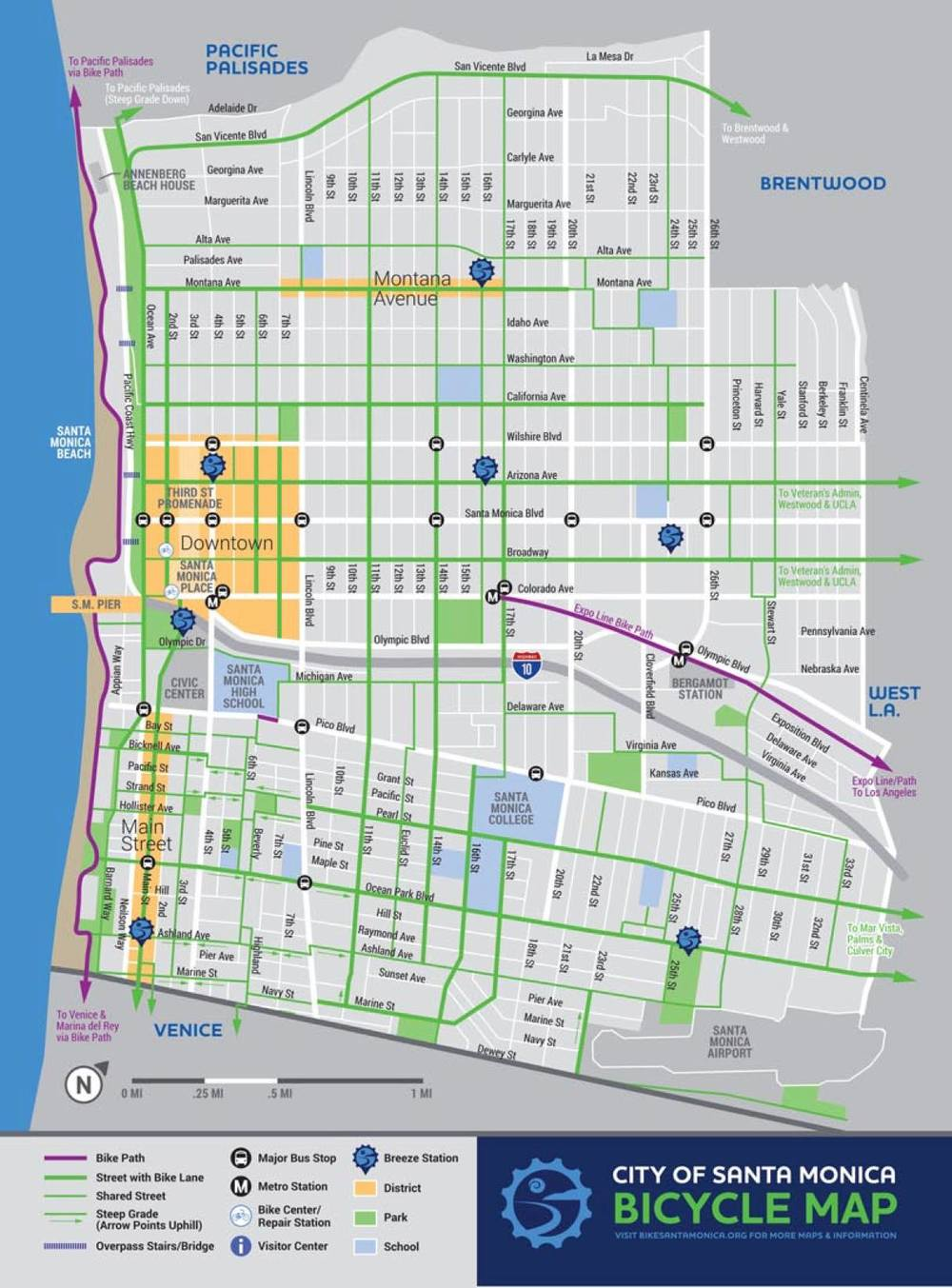 Click to enlarge >Map of the Breeze Bike Share system. Courtesy of CycleHop and the city of Santa Monica