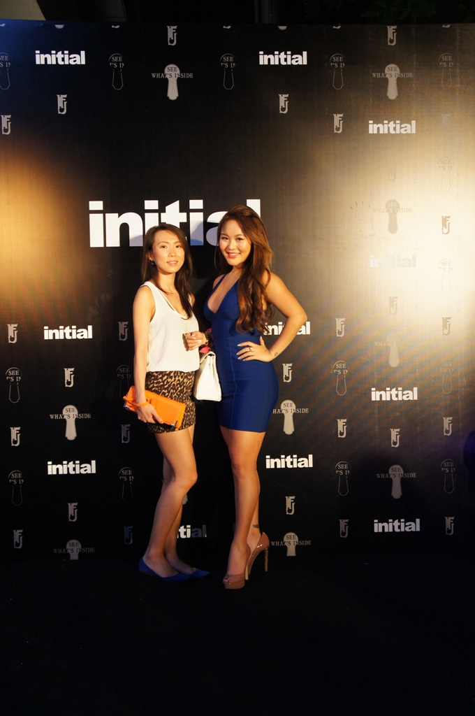 Nora and her friend at the Initial launch party