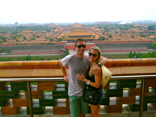 Checking out the Forbidden City from a temple in a near by park