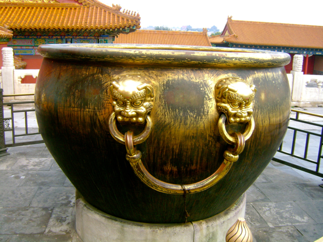 The quote next to this big gold bowl said that they filled this up with water during the hot months to prevent fires in the Forbidden City!