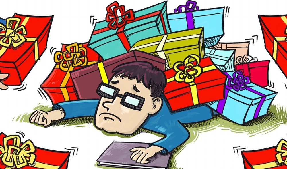 This man bought many presents to show face!