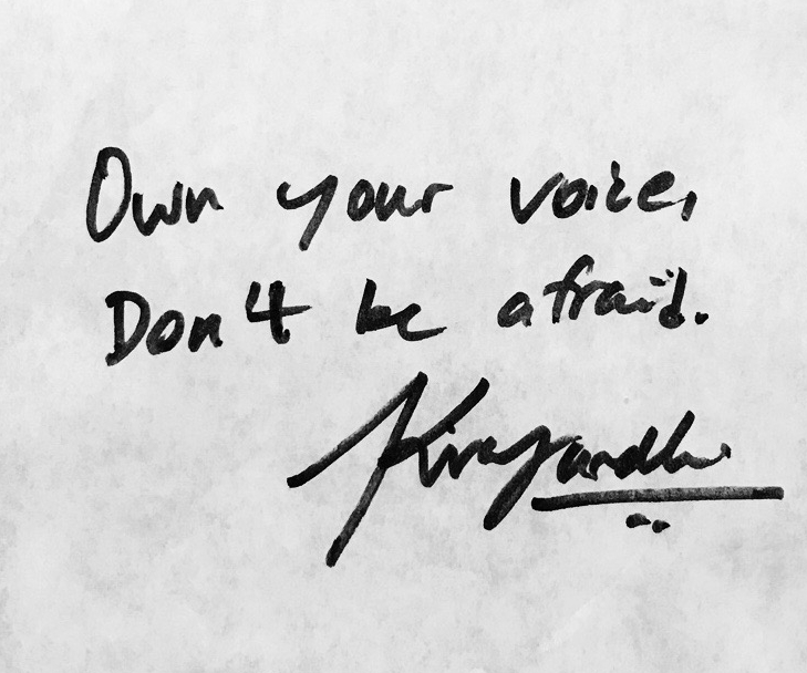 """Own your voice, Don't be afraid."" -  Kiran Gandhi  , guest artist and educator for  Identity, Power and Music  (2016)"