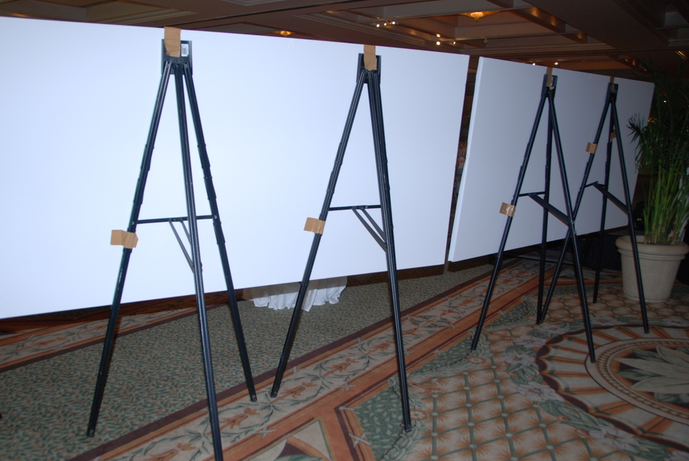 (back view) Easels support foamcore boarding so graphic recording can happen in rooms where the fixed walls are not an option.