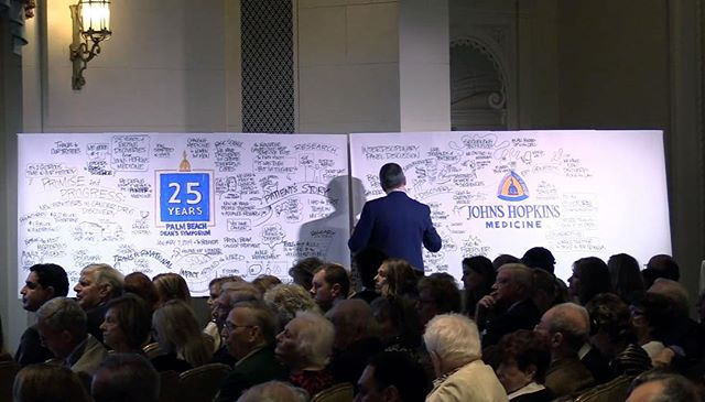 """A timelapse video of a live graphic recording of """"Promise & Progress: New Frontiers in Cancer Drug Discovery"""" captured by Crowley & Co. Associate Jim Nuttle during the 2019 Johns Hopkins Medicine Dean's Symposium. @hopkinsmedicine Watch the video on our homepage. #graphicrecording @jimnuttle #crowleyandco"""