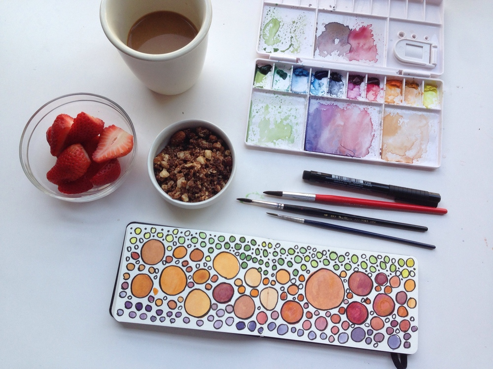 watercolor circles | 140 year of creative habits
