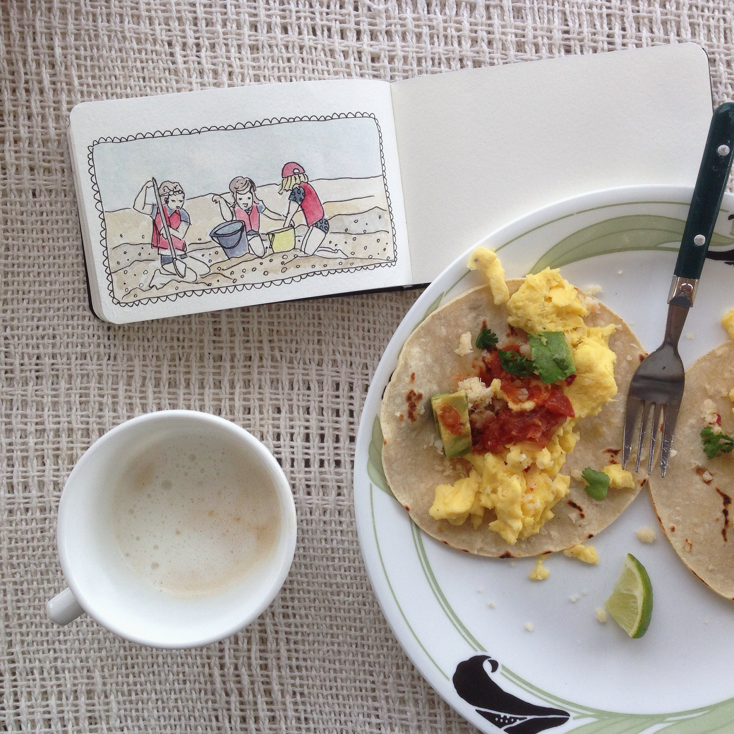 breakfast burrito + cafe con leche | year of creative habits