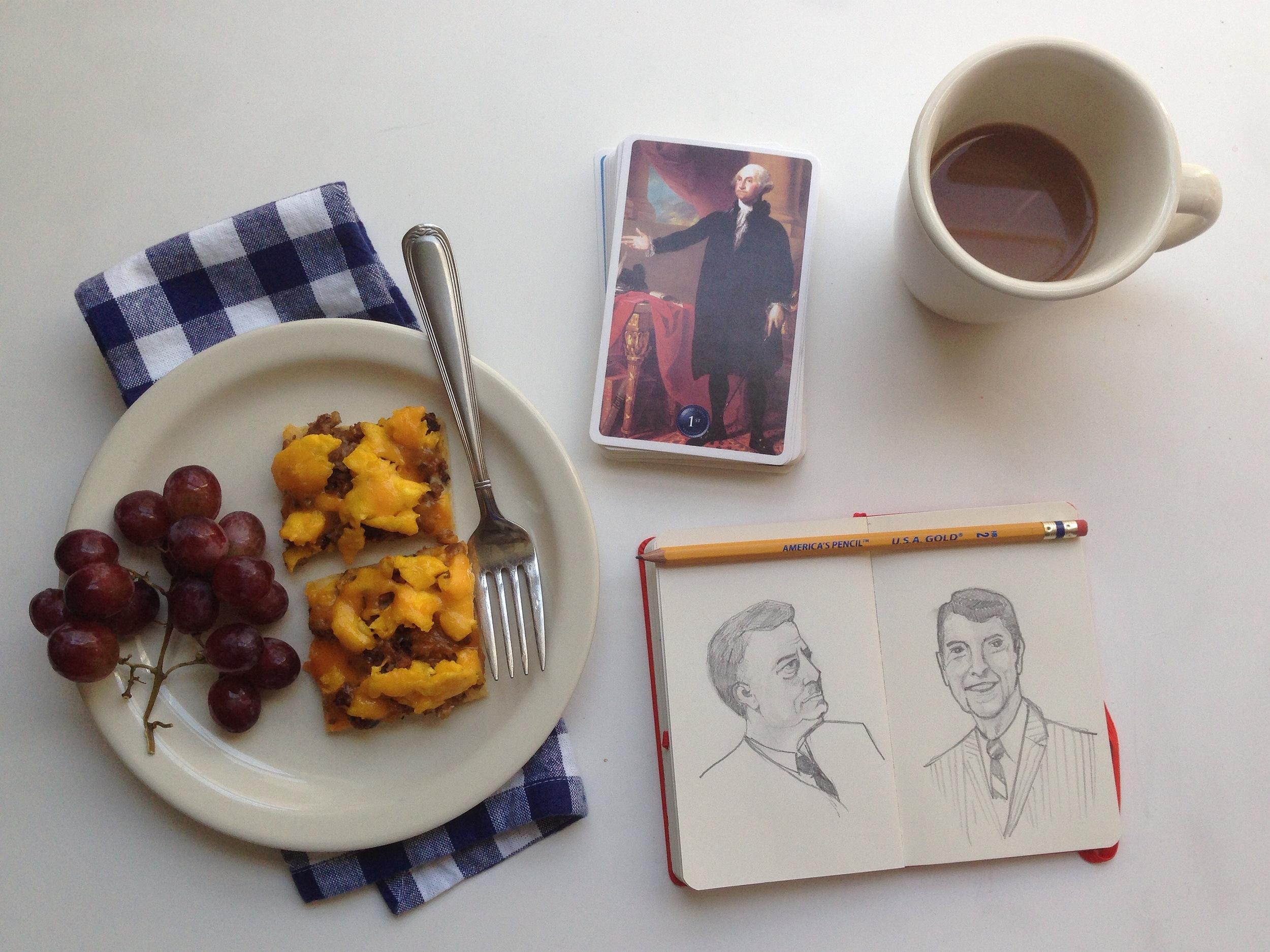 breakfast pizza + presidents | year of creative habits