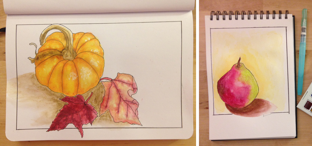 left: day 133 This was one of my first drawings for Sketchbook Skool drawing from life and using only the pen, no pencil underdrawing. Then I colored it with Derwent Inktense blocks used like watercolor. right: day 156 This was one of my last drawings of a very lovely pear using watercolor.