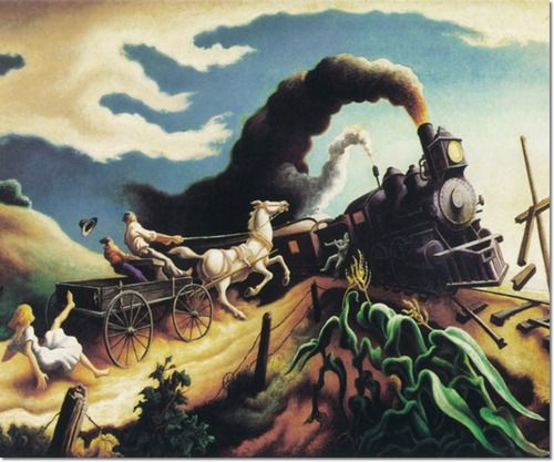 Thomas Hart Benton - Wreck of the ole 97 train