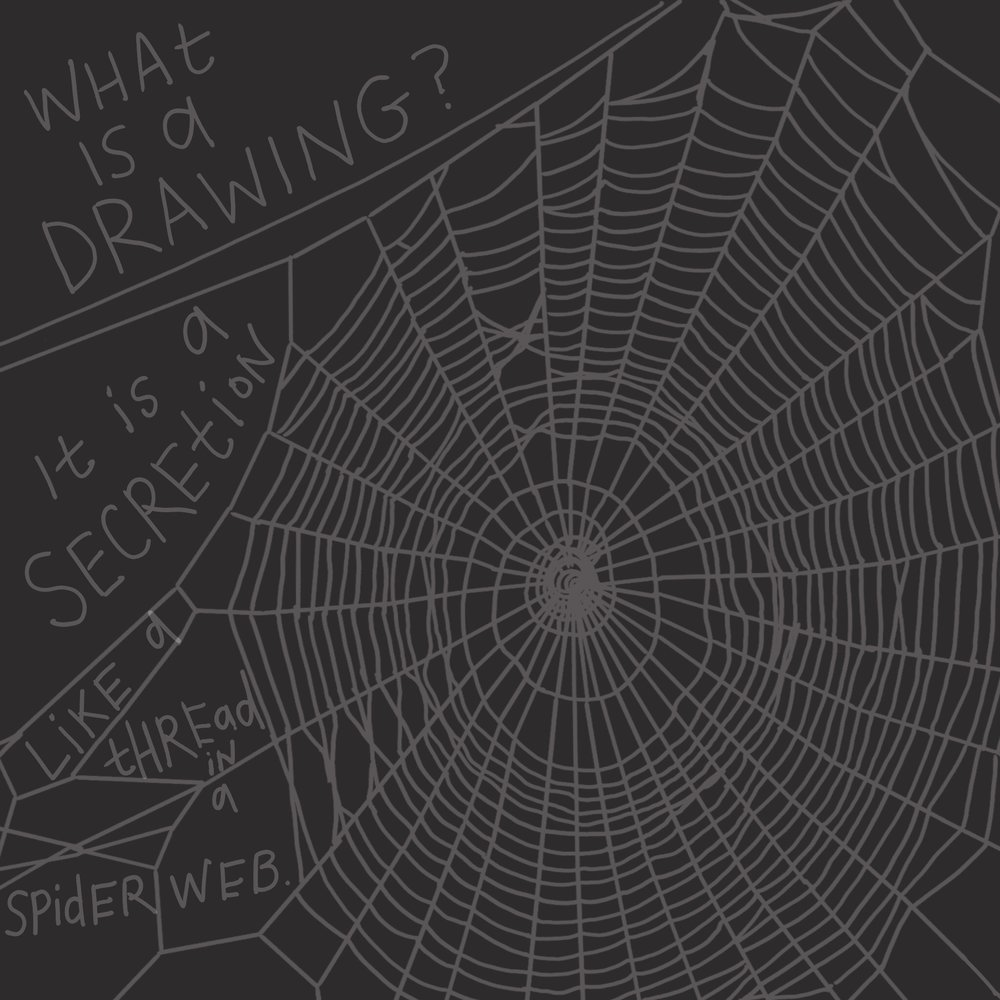 """What is a drawing? It is a secretion, like a thread in a spider's web. ... It is a knitting, a spiral, a spiderweb and other significant organizations of space.""  -Louise Bourgeois"