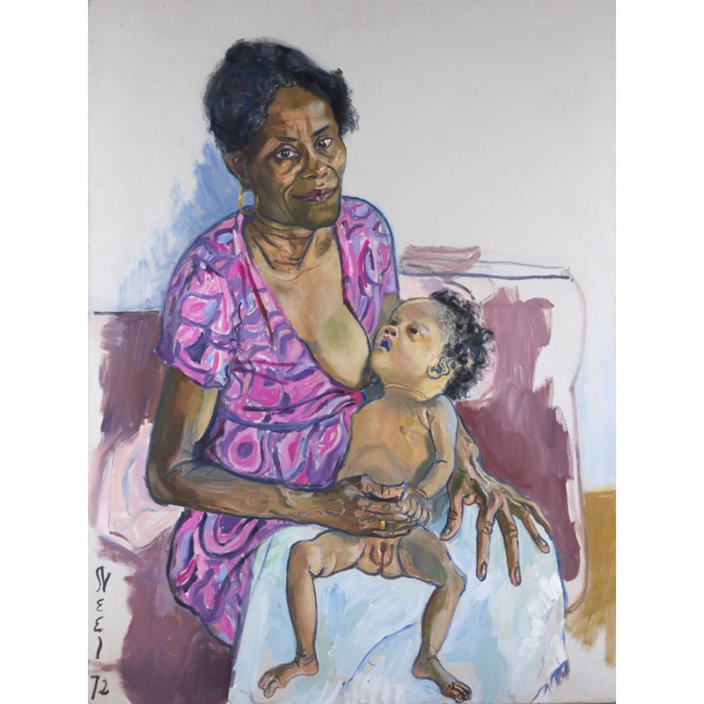 Carmen and Judy, 1972 is a portrait of Alice's Haitan housekeeper and one of her five children. This baby died shortly after the portrait.