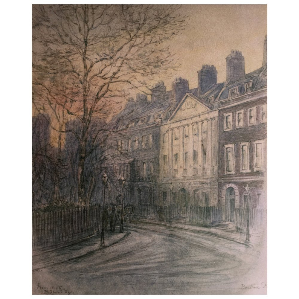 drawing of Bedford Square drawn from the Warne family home, 1905