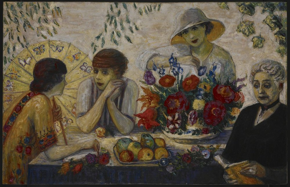 Family Portrait 1 (1915) Etta in profile at left, talking to Carrie, Florine behind the flowers, and mom Rosetta reading a book.