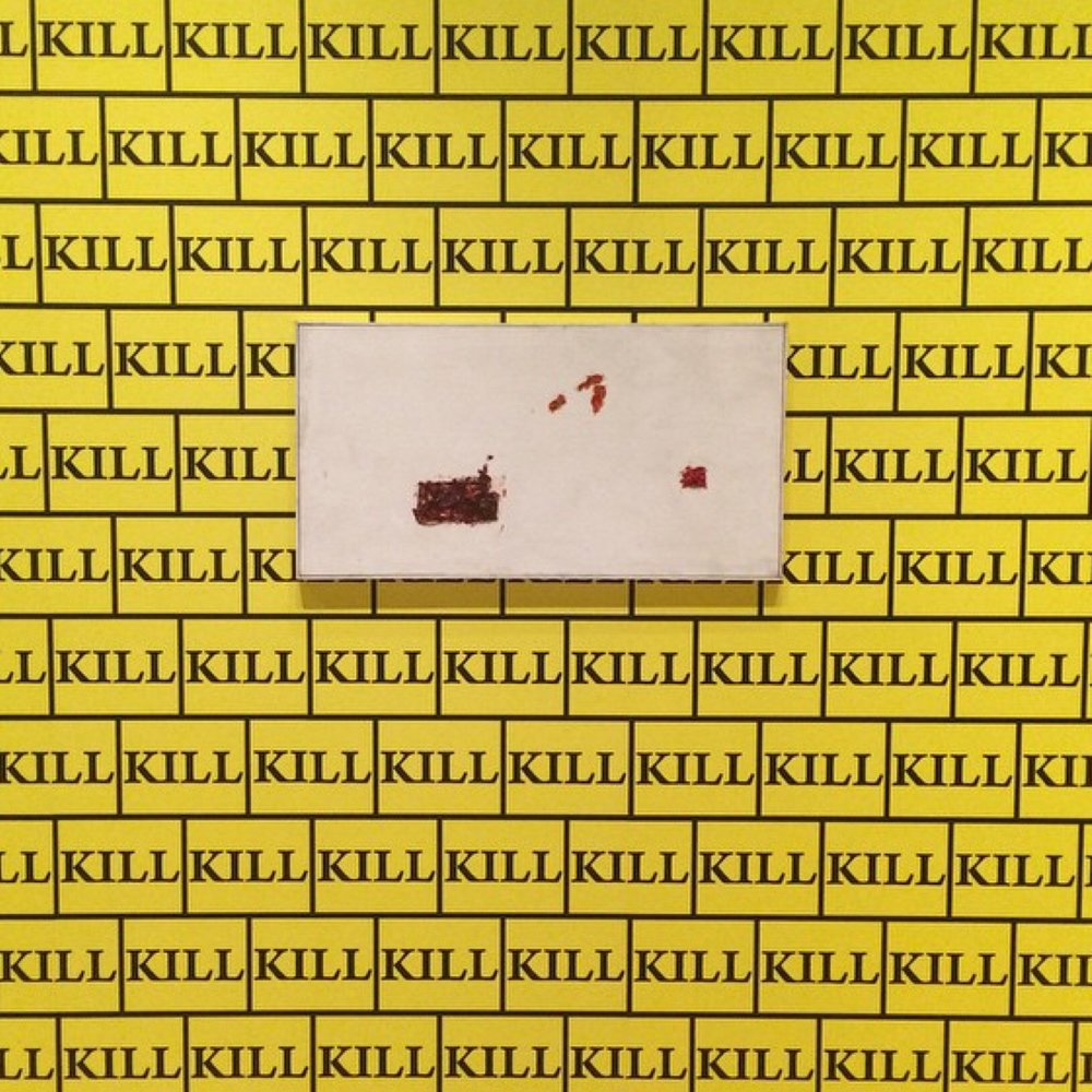 Sturtevant, Ethelred II, (1961) displayed here on wallpaper she designed (2003-2014) inspired by Quentin Tarrantino's Kill Bill.