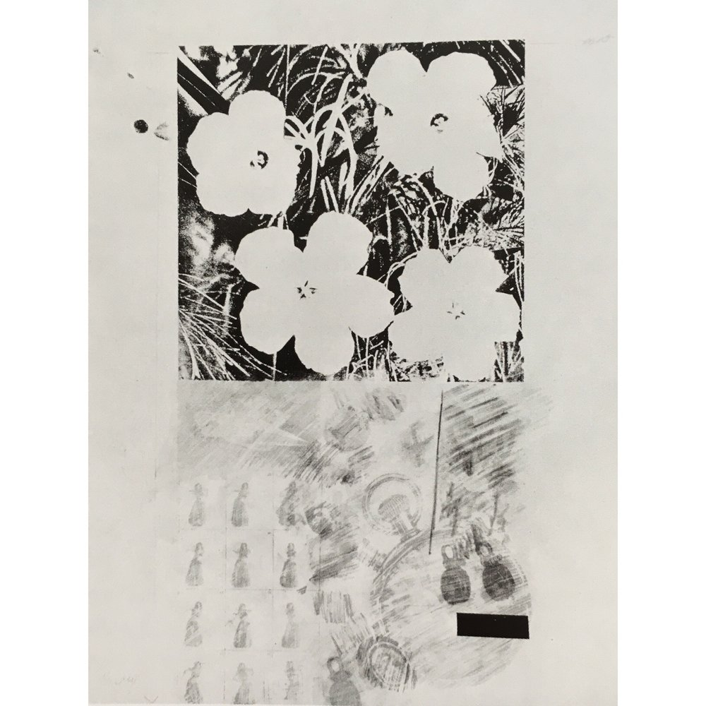 Study of Warhol Flowers with Rauschenberg Drawing 1965